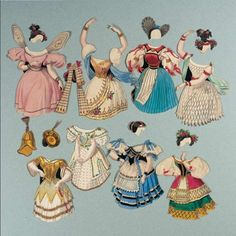 """Paper Dolls, 1790-1940 - The Collection of Shirley Fischer: 23 Circa 1835,Extremely Rare French Paper Doll Set,""""Taglioni"""" in Original Box 1835"""