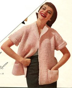 1950's Bulky Yarn Boxy Jacket Easy Fitting Rolled by MissSpeedwell