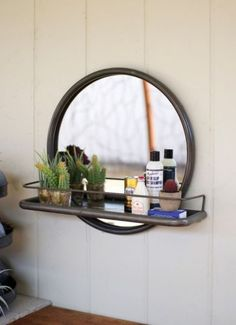 Vintage-Industrial-Round-Loft-Warehouse-Style-Metal-Frame-Wall-Mirror-With-Shelf