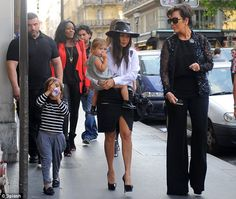 Family fun: Not long after they arrived in Paris, Kourtney Kardashian and Kris Jenner took Mason Dash Disick and Penelope Disick out for the day