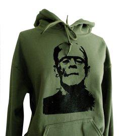 Frankenstein Hoodie - Classic Horror Monster Green Sweatshirt - Unisex Sizes S, M, L, XL. $28.00, via Etsy.