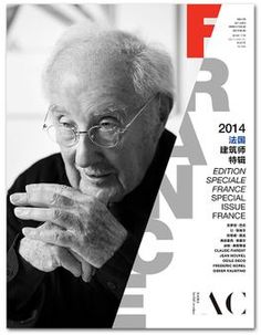 Claude Parent on the front cover of AC (ArchiCreation) Chinese magazine's special issue about French architecture, 2014. The magazine includes 70 pages on Claude Parent's work. Other guests are Jean Nouvel, Odile Decq, Frédéric Borel and Didier Faustino. Beautiful magazine! The magazine is trilingual French, English and Chinese.