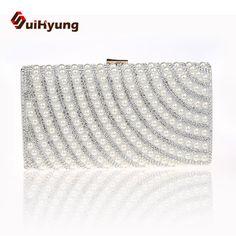 New Fashion Noble Women Diamond Clutch Bags Striped Pearl Wedding Small Clutch Purse Party Evening Bag Ladies Rhinestone Handbag
