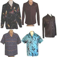 Vintage 1970s Shirt Lot Nylon Poly Disco 5 Shirts Abstract Floral Stripes L