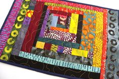 Patchwork Mini Quilt, Colorful Place Mat, Modern Quilted Mug Rug or Abstract Little Table Topper by MyBitOfWonder on Etsy https://www.etsy.com/listing/558552868/patchwork-mini-quilt-colorful-place-mat