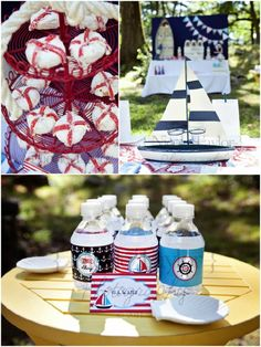 love this nautical birthday party...super easy lifesaver made out of powered donuts