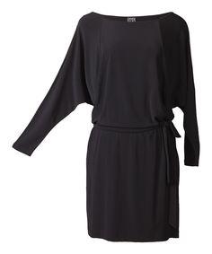 Black Dolman Blouson Dress - Women on zulily today!