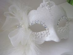White Masquerade mask lace pearl cocktail by MasksbyDebbsElliman, £30.00
