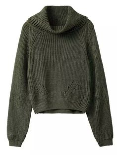 Army Green High Roll Neck Cropped Knitted Sweater | Choies