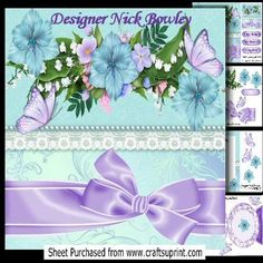 Spray of pretty flowers with bow lace and butterflies 8x8  on Craftsuprint - Add To Basket!