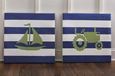 Organized Chaos: DIY Art for Toddler Boy Room (Green & Blue Tractor & Sailboat)