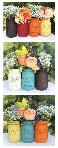 Set of 3 mason jars painted and distressed in varying colors. PERFECT for your Thanksgiving table! You choose the colors Fall jars -autumn decor - Thanksgiving table Decor, fall painted jars, turquoise, orange, yellow, brown, red, coral, cream jars, you choose! (affiliate)