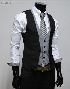 THELEES (VE34) Mens layered style slim fit vest waist coat