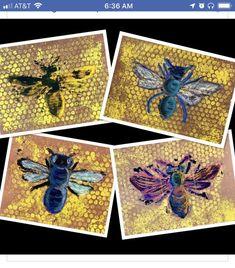 Hintergrund wurde mit Luftpolsterfolie gedruckt um einen Bienenstock herzustelle… Background was printed with bubble wrap to make a hive. Then the students made ideas for art Spring Art, Summer Art, Arte Elemental, 4th Grade Art, Inspiration Art, Ecole Art, Bee Art, School Art Projects, Art Projects For Adults
