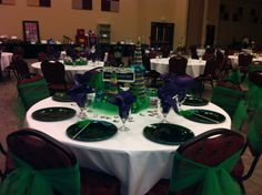 Mardi Gras Gala - we had 3 levels of sponsorship represented by tables decorated in gold, purple and green!