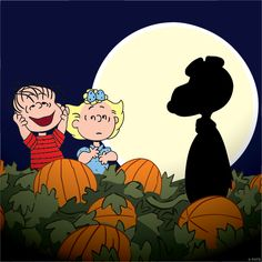 Linus sees the Great Pumpkin (Snoopy), with his sister, Sally. Charlie Brown Halloween, Great Pumpkin Charlie Brown, Peanuts Halloween, It's The Great Pumpkin, Charlie Brown And Snoopy, Fall Halloween, Happy Halloween, Halloween Movies, Halloween 2019