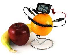 The fruit clock is a digital clock/calendar powered by fruit.