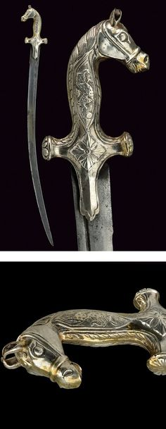 A sabre,dating: late Century provenance: India. Swords And Daggers, Knives And Swords, Katana, Curved Swords, Pirate Sword, Indian Sword, Dagger Knife, Medieval Weapons, Arm Armor