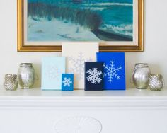 SNOWFLAKE Embossed Silver and Gloss Ivory Enamel on Canvas Handmade in St. Louis, MO  Let It Snow, Let It Snow, Let It Snow! The lights are up, the
