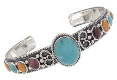 Southwest Sterling Silver And Multicolor Cuff Bracelet IS60871