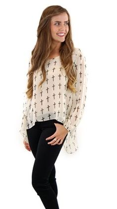 Cream Crosses Blouse