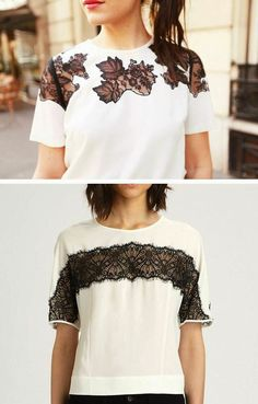 DIY Fashion Ideas – What you Need to be Creative – Designer Fashion Tips Diy Clothing, Sewing Clothes, Diy Lace Shirt, Diy Kleidung, Diy Vetement, Diy Mode, Mode Top, Diy Fashion, Fashion Design