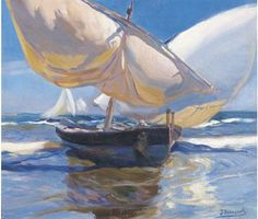 The Boat - José Mongrell Torrent Spanish, 1870 - 1937 Claude Monet, Renoir, Landscape Art, Landscape Paintings, Sailboat Art, Paintings Famous, Simple Acrylic Paintings, Boat Painting, Spanish Painters