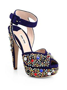 Miu Miu Donna Jeweled Suede Platform Sandals