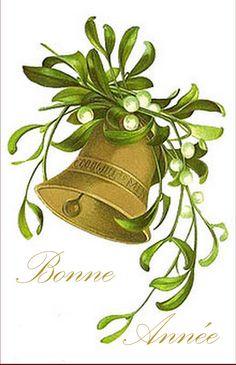 vintage card happy new year bonne année