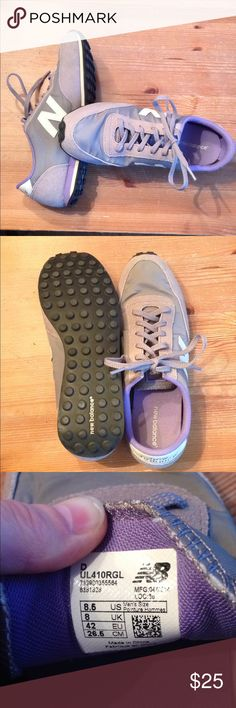 Retro New Balance Kicks Retro New Balance tennis shoes, size 8.5, style 410. Gray & purple, perfect condition, just don't fit me right. I usually wear 8.5 in New Balance, but these are roomy, so keep that in mind! They are super cool & comfortable! New Balance Shoes Sneakers