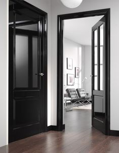 Black Interior Doors - Dramatic Or Conventional? When you need a truly dramatic, dramatic look, nothing is more dramatic than the use of black interior doors. Black doors give you the kind of feel that . Estilo Interior, Black Interior Doors, Black Doors, Interior Trim, Home Interior, Interior Design, Interior Door Colors, Painted Interior Doors, Black Windows