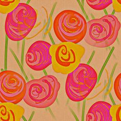 Rosey   ~ by PeacoquetteDesigns on Spoonflower ~ bespoke fabric, wallpaper, wall decals & gift wrap ~ Join PD  ~ https://www.Peacoquette.com  #Spoonflower #Peacoquette