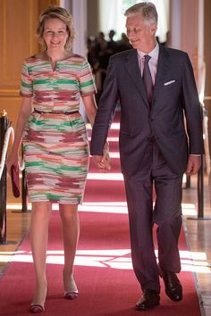 King Philippe and Queen Mathilde attend the inauguration of exhibitions in the Royal Palace on July 20, 2017.     Photo by Olivier Matthys/Getty Images