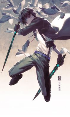 1boy aqua_eyes artist_name belt bird black_gloves black_hair bolo_tie coat dual_wielding full_body gloves glowing glowing_eyes jumping male_focus original pants pigeon robinexile shirt shoes solo sword touran-sai weapon white_shirt
