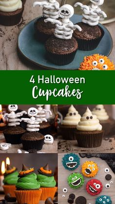 4 Halloween Cupcakes Try these fun Halloween Cupcakes made 4 different ways! The post 4 Halloween Cupcakes appeared first on Halloween Desserts. Halloween Donuts, Bolo Halloween, Halloween Torte, Halloween Backen, Pasteles Halloween, Recetas Halloween, Dessert Halloween, Halloween School Treats, Halloween Food For Party