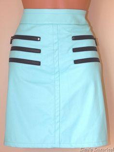 NWT Women's KELLY WEARSTLER Skirt 8 Faux Leather Mint & Black $140 #KellyWearstler #StraightPencil