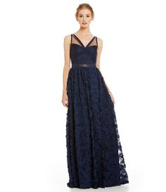 Adrianna Papell Tulle Rosette Gown | Dillards