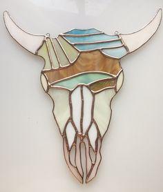 Stained Glass Cow Skull Suncatcher.Cerro Pedernal Skull