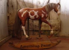 American Paint Other Horses - These rocking horse were not created as replicas for specific horses. They were carved for shows and other events over the years. A variety of breeds and sizes are represented. Dennis Page Carved Art The Horse Whittler Wood Rocking Horse, Antique Rocking Horse, Wooden Horse, American Paint, Wood Pedestal, Painted Pony, Horses And Dogs, Art Carved, Carousels