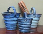 Basket Twisted Vase Handmade Pottery Large Cobalt Blue Gift Present Flowers Spoons Jar Ceramic Clay, Ceramic Vase, Ceramic Pottery, Pottery Art, Slab Pottery, Thrown Pottery, Pottery Studio, Napkin Wrapped Silverware, Silverware Caddy