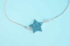 Aqua Blue Star Bracelet