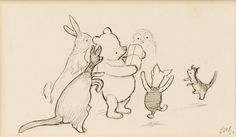 "SHEPARD, Ernest H. - Original drawing ""Pooh's Party"" - Original artwork illustrating Pooh receiving the gift of a pencil case from Christopher Robin during his party on page 155 of Winnie-the-Pooh. Initialled by Shepard. ""Nobody was listening, for they were all saying, 'Open it Pooh,' 'What is it, Pooh?'… And of course Pooh was opening it as quickly as ever he could, but without cutting the string, because you never know when a bit of string might be Useful."""
