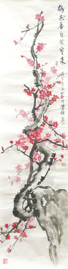 Plum blossom Chinese Traditional Painting. $88.00, via Etsy.