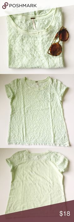 Pastel Green Lace Tee Pretty light shade of green • front of blouse is lace, back is solid • breast pocket • cuffed sleeves • lace trim detail • Accepting reasonable offers! Tops Tees - Short Sleeve