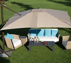 Amazon.com : Abba Patio 10 ft Square Easy Open Offset Outdoor Umbrella Square Parasol with Cross Base, Tan : Patio, Lawn & Garden