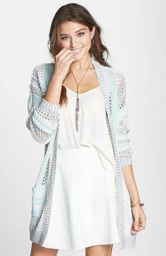 Love on a Hanger 'Kimchi' Stripe Cardigan (Juniors) | Nordstrom  Color: Blue Stripes Size: Small