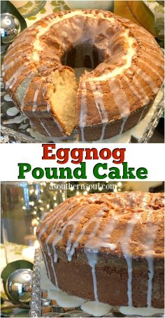Celebrate the holidays with this extra special pound cake flavored with rich eggnog and warm spices of cinnamon and nutmeg. There's just something special about pound cake and this one is an outstanding addition to my Christmas dessert line up! #cake #poundcake #desserts #sweets #recipes