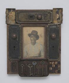 Available for sale from Roberts Projects, Betye Saar, Locksmith Mixed media assemblage, 14 × 11 in African American Art, American Artists, Alternative Kunst, Betye Saar, Found Object Art, Junk Art, Assemblage Art, Mixed Media Canvas, Original Artwork