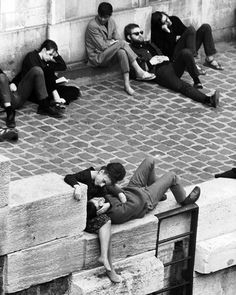 Parisian beatniks hanging out on bank of the Seine River in Paris 1963. (Alfred EisenstaedtThe LIFE Picture Collection/Getty Images) by life