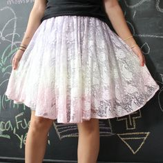 Ombre Dip Dye Purple and Pink Womens or Girls Lace Knee Length Skirt